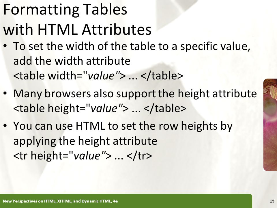 XP Formatting Tables with HTML Attributes To set the width of the table to a specific value, add the width attribute... Many browsers also support the
