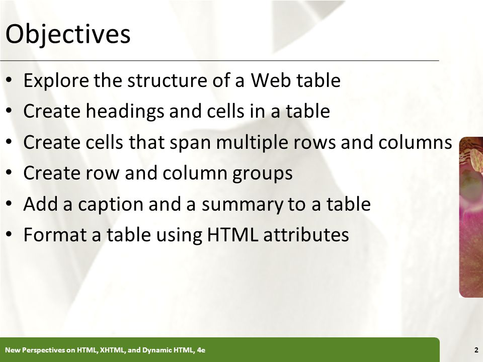 XP Objectives Explore the structure of a Web table Create headings and cells in a table Create cells that span multiple rows and columns Create row an