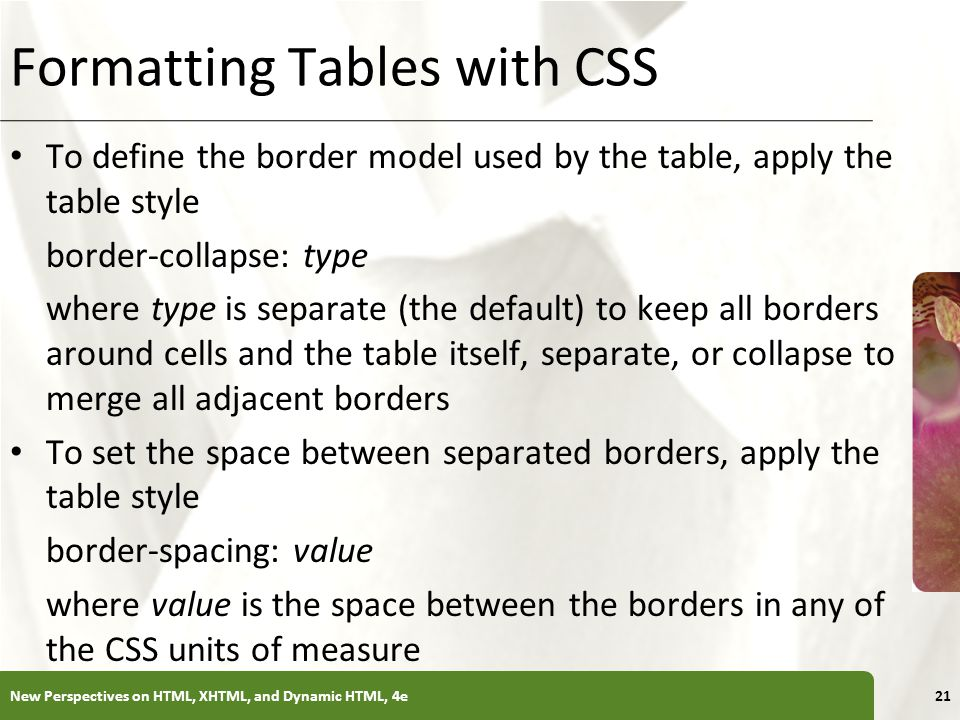 XP Formatting Tables with CSS To define the border model used by the table, apply the table style border-collapse: type where type is separate (the de