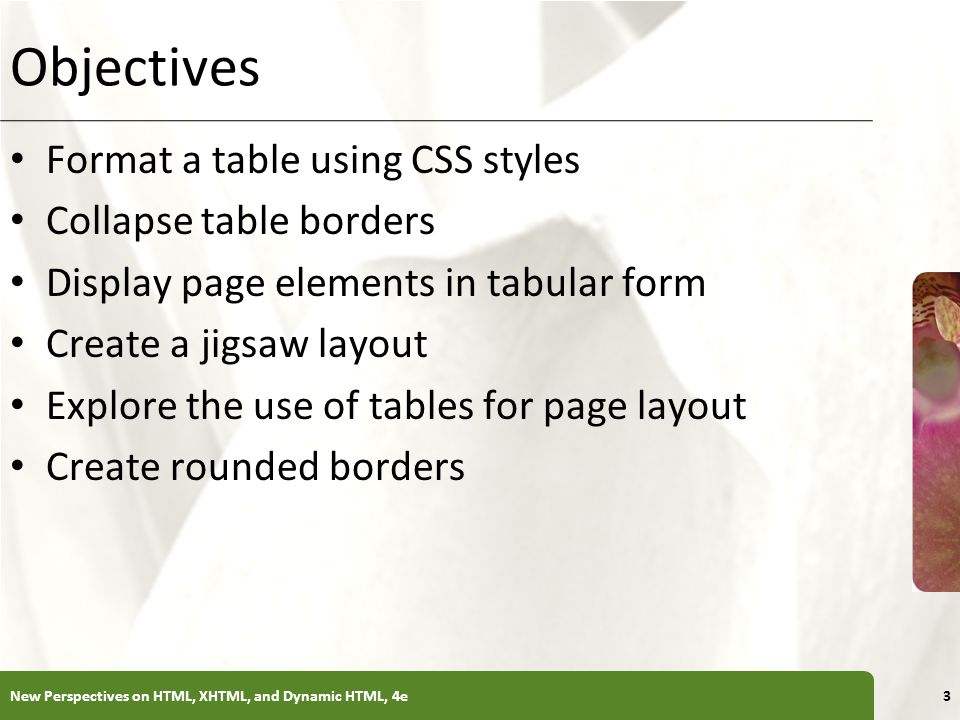 XP Introducing Web Tables Each table in a Web page follows a basic structure consisting of the table element and a collection of table rows nested in the table element table cells table cells...