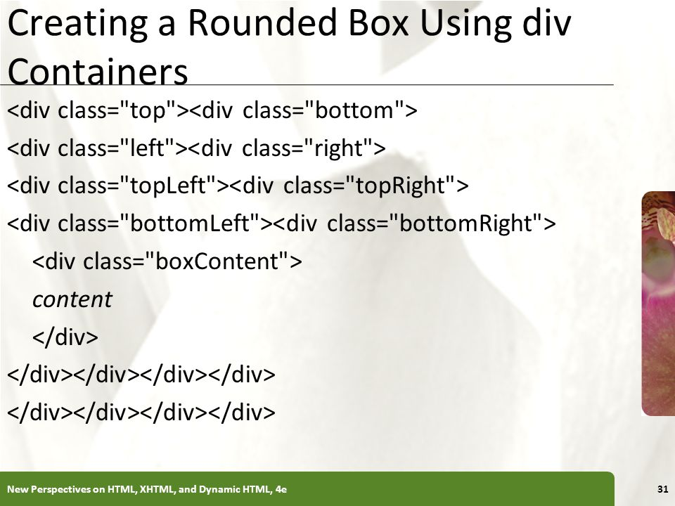 XP Creating a Rounded Box Using div Containers content New Perspectives on HTML, XHTML, and Dynamic HTML, 4e31