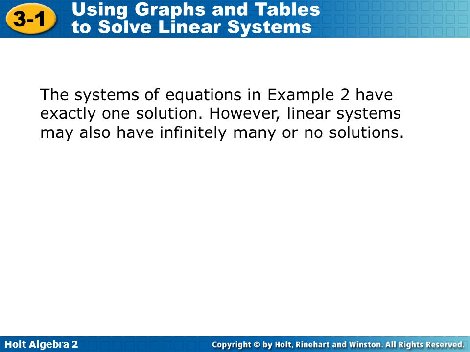 Holt Algebra 2 3-1 Using Graphs and Tables to Solve Linear Systems The systems of equations in Example 2 have exactly one solution. However, linear sy