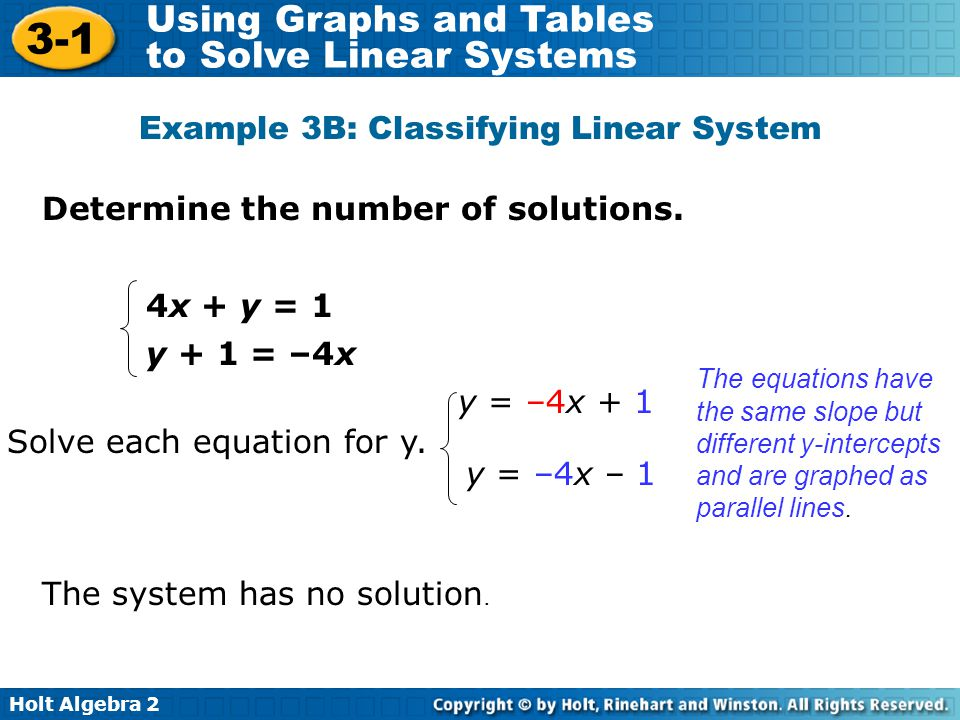 Holt Algebra 2 3-1 Using Graphs and Tables to Solve Linear Systems Determine the number of solutions. Example 3B: Classifying Linear System 4x + y = 1