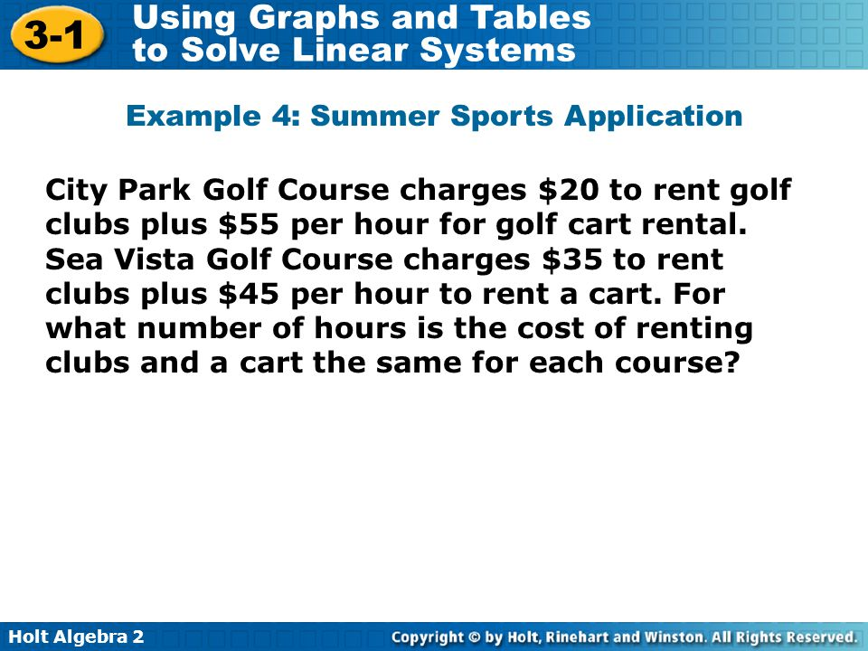 Holt Algebra 2 3-1 Using Graphs and Tables to Solve Linear Systems City Park Golf Course charges $20 to rent golf clubs plus $55 per hour for golf car