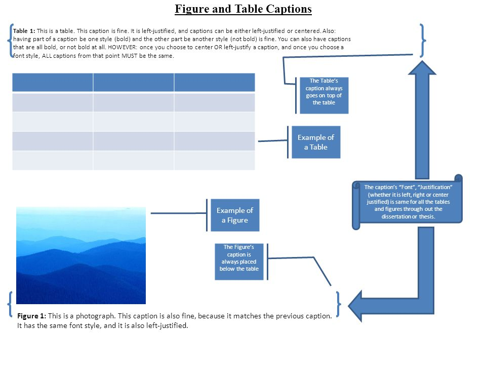 Basic Rules about Consistency in Figure and Table Captions Figure 1: You can have centered captions for Figures and Tables, OR you can have left-justified captions, but you cannot have both.