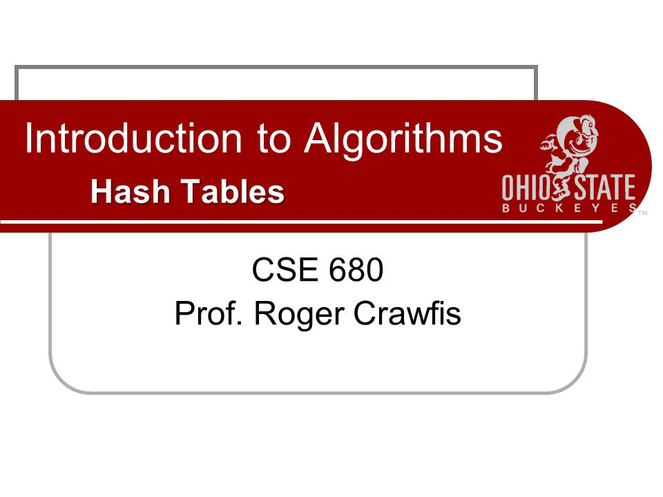 Example Our hash table uses an array of size N = 100.
