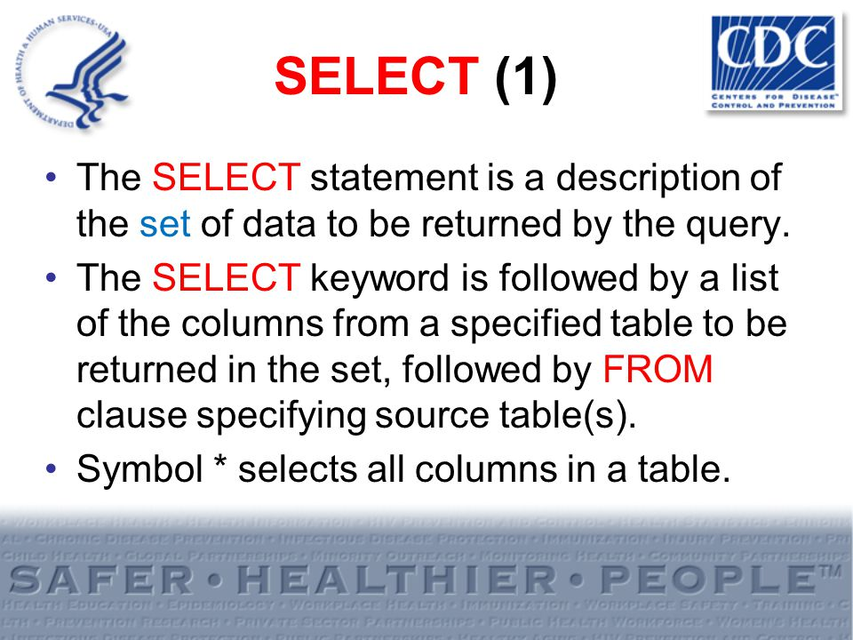 SELECT (1) The SELECT statement is a description of the set of data to be returned by the query. The SELECT keyword is followed by a list of the colum