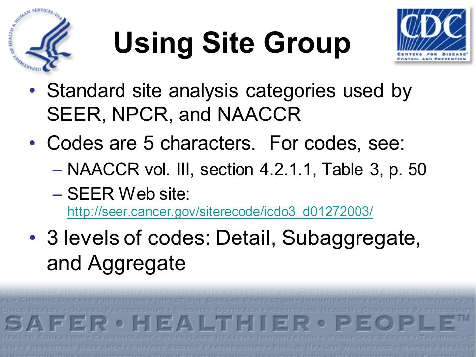 Using Site Group Standard site analysis categories used by SEER, NPCR, and NAACCR Codes are 5 characters. For codes, see: –NAACCR vol. III, section 4.