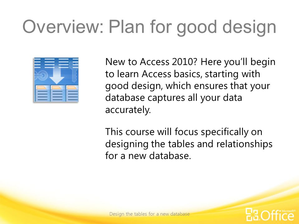 Overview: Plan for good design Design the tables for a new database New to Access 2010.