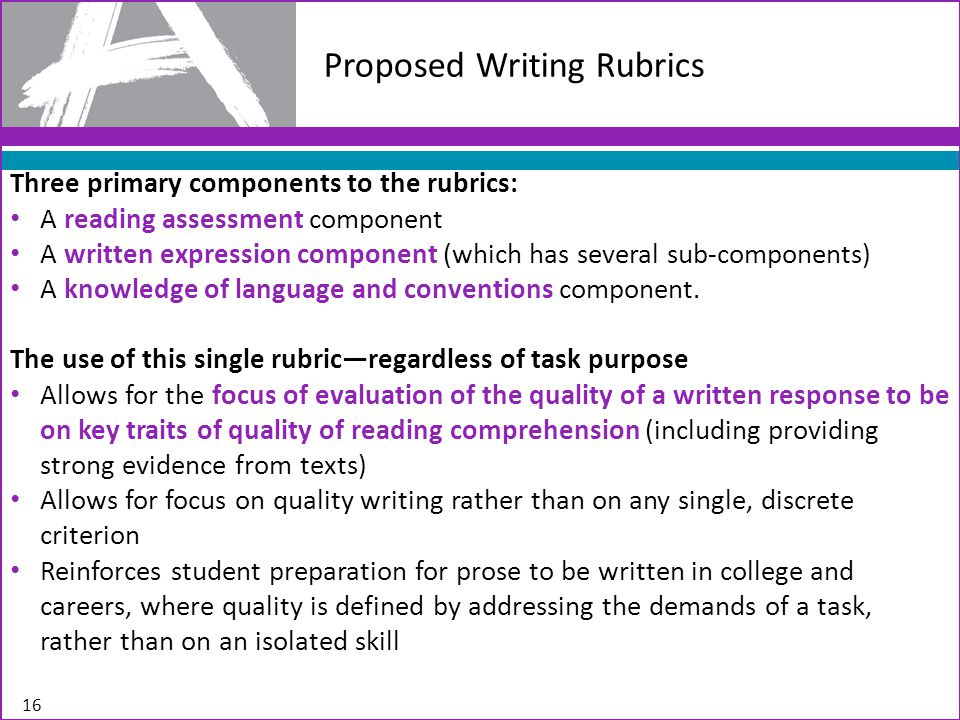 Proposed Writing Rubrics Three primary components to the rubrics: A reading assessment component A written expression component (which has several sub-components) A knowledge of language and conventions component.
