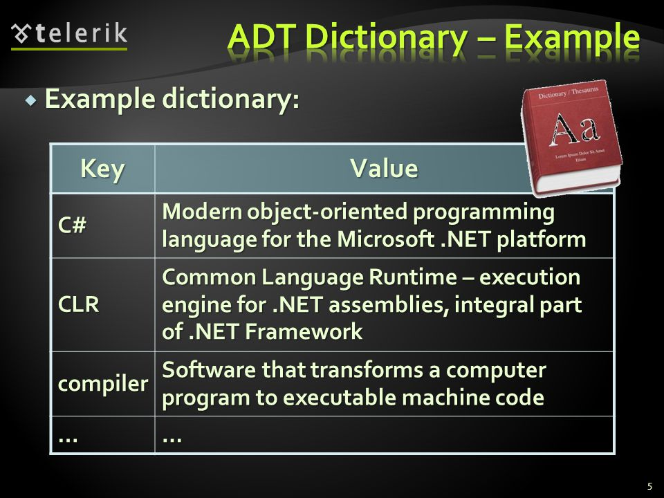Example dictionary: Example dictionary: 5KeyValueC# Modern object-oriented programming language for the Microsoft.NET platform CLR Common Language Runtime – execution engine for.NET assemblies, integral part of.NET Framework compiler Software that transforms a computer program to executable machine code ……