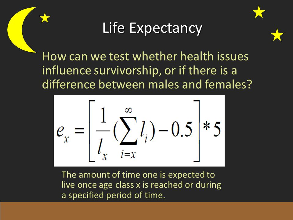 Life Expectancy The amount of time one is expected to live once age class x is reached or during a specified period of time. How can we test whether h