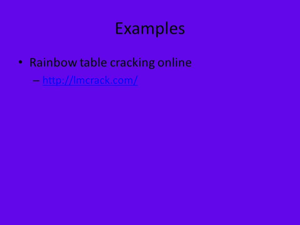 Examples Rainbow table cracking online – http://lmcrack.com/ http://lmcrack.com/