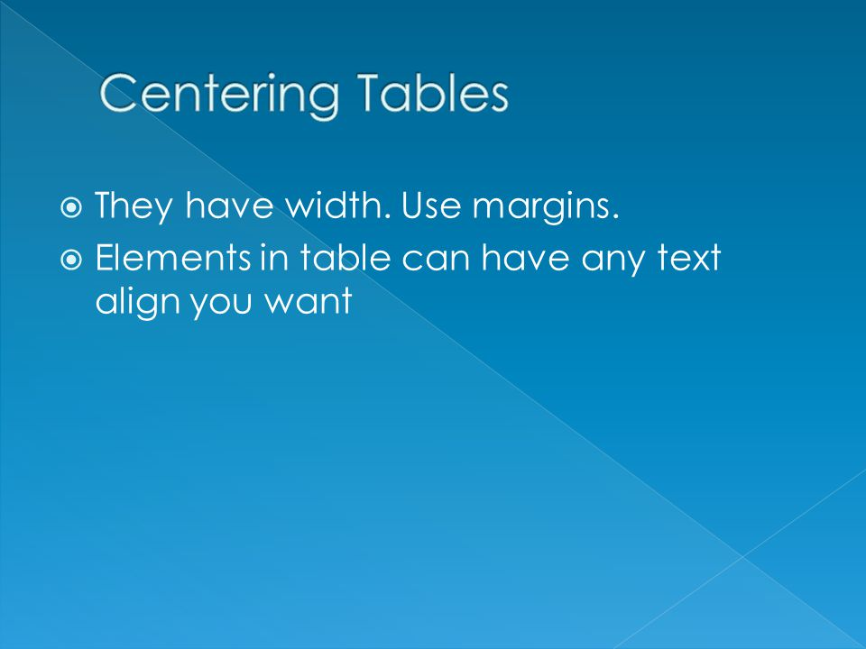 They have width. Use margins. Elements in table can have any text align you want