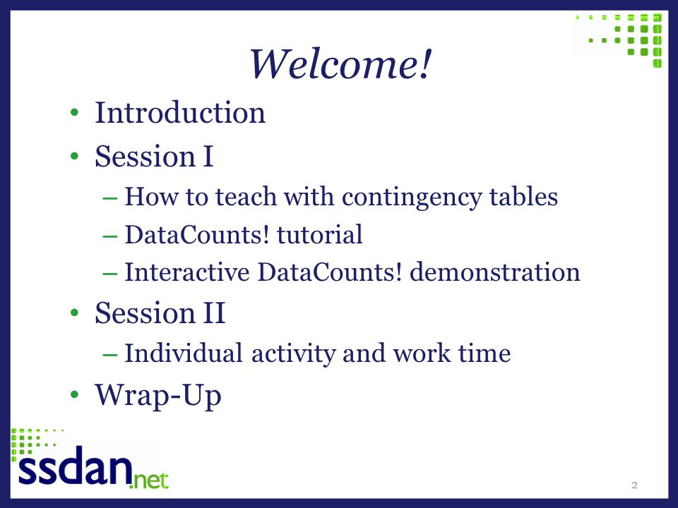 Welcome! Introduction Session I – How to teach with contingency tables – DataCounts! tutorial – Interactive DataCounts! demonstration Session II – Ind