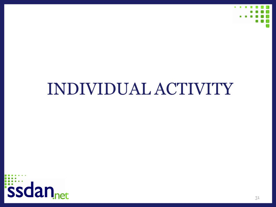 INDIVIDUAL ACTIVITY 31