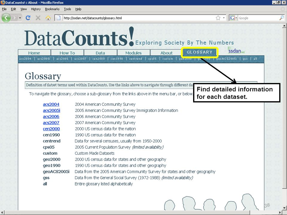 Find detailed information for each dataset. 38