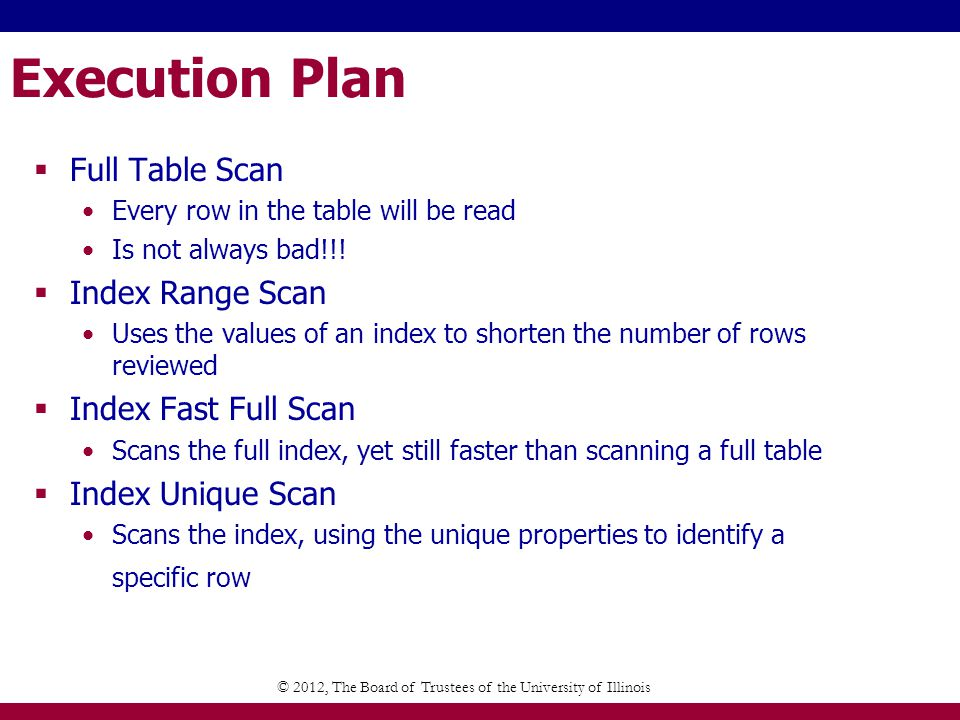 Execution Plan Full Table Scan Every row in the table will be read Is not always bad!!.
