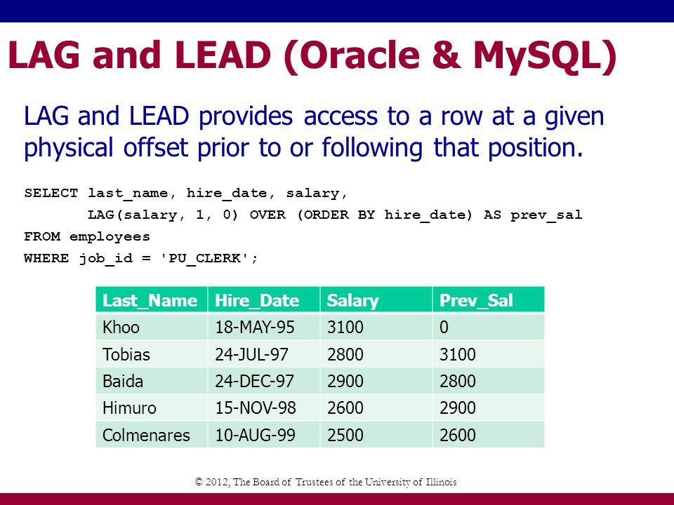 LAG and LEAD (Oracle & MySQL) LAG and LEAD provides access to a row at a given physical offset prior to or following that position.