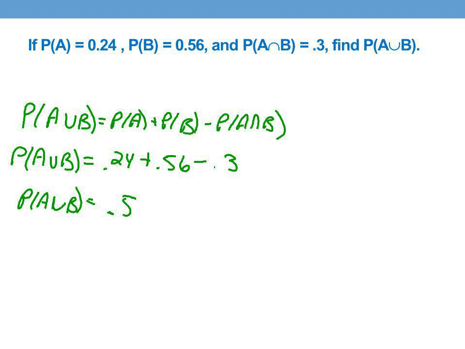 If P(A) = 0.24, P(B) = 0.56, and P(A B) =.3, find P(A B).