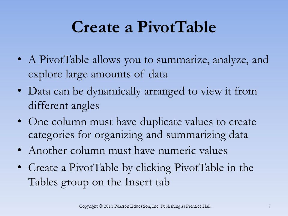 Create a PivotTable Copyright © 2011 Pearson Education, Inc. Publishing as Prentice Hall. 8
