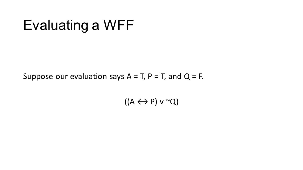 Evaluating a WFF Suppose our evaluation says A = T, P = T, and Q = F. ((A P) v ~Q)