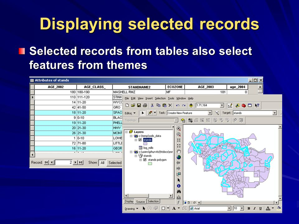 Displaying selected records Selected records from tables also select features from themes