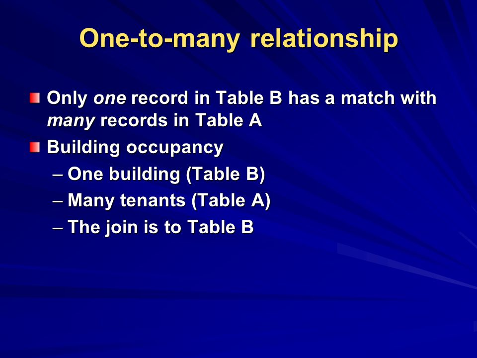 One-to-many relationship Only one record in Table B has a match with many records in Table A Building occupancy –One building (Table B) –Many tenants (Table A) –The join is to Table B