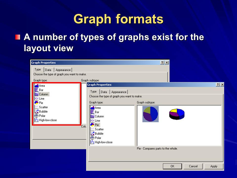 Graph formats A number of types of graphs exist for the layout view
