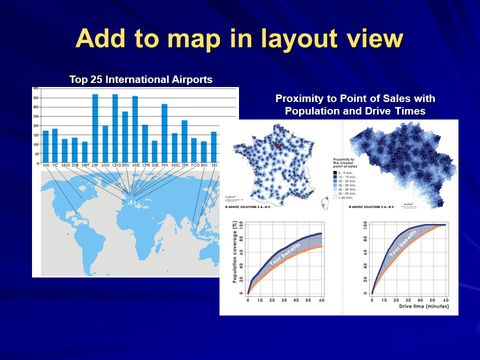 Add to map in layout view Top 25 International Airports Proximity to Point of Sales with Population and Drive Times