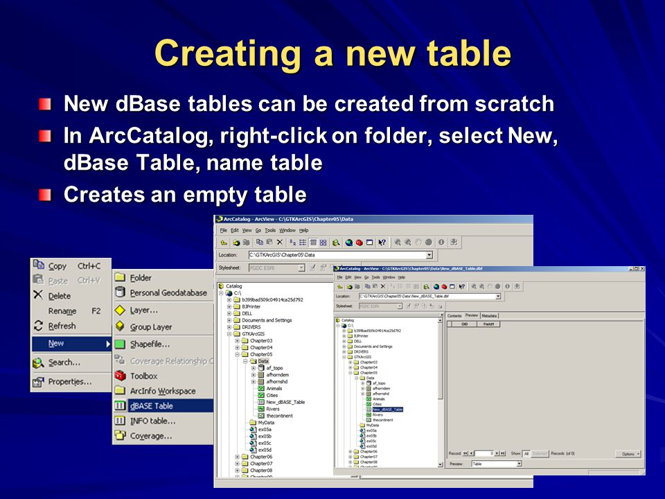 Creating a new table New dBase tables can be created from scratch In ArcCatalog, right-click on folder, select New, dBase Table, name table Creates an empty table