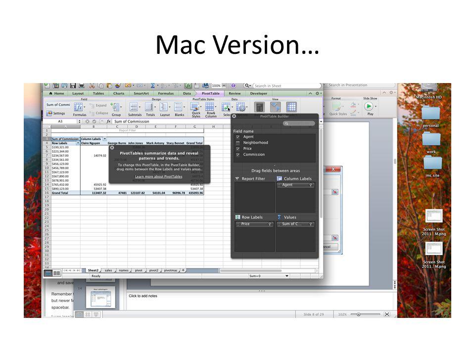 Mac Version…