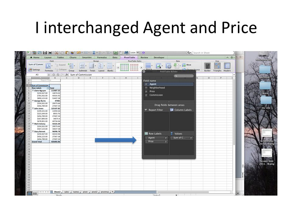 I interchanged Agent and Price
