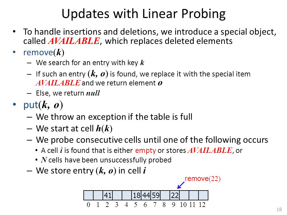Updates with Linear Probing To handle insertions and deletions, we introduce a special object, called AVAILABLE, which replaces deleted elements remove (k) – We search for an entry with key k – If such an entry (k, o) is found, we replace it with the special item AVAILABLE and we return element o – Else, we return null put (k, o) – We throw an exception if the table is full – We start at cell h(k) – We probe consecutive cells until one of the following occurs A cell i is found that is either empty or stores AVAILABLE, or N cells have been unsuccessfully probed – We store entry (k, o) in cell i 18 41 184459 22 0123456789101112 remove (22)