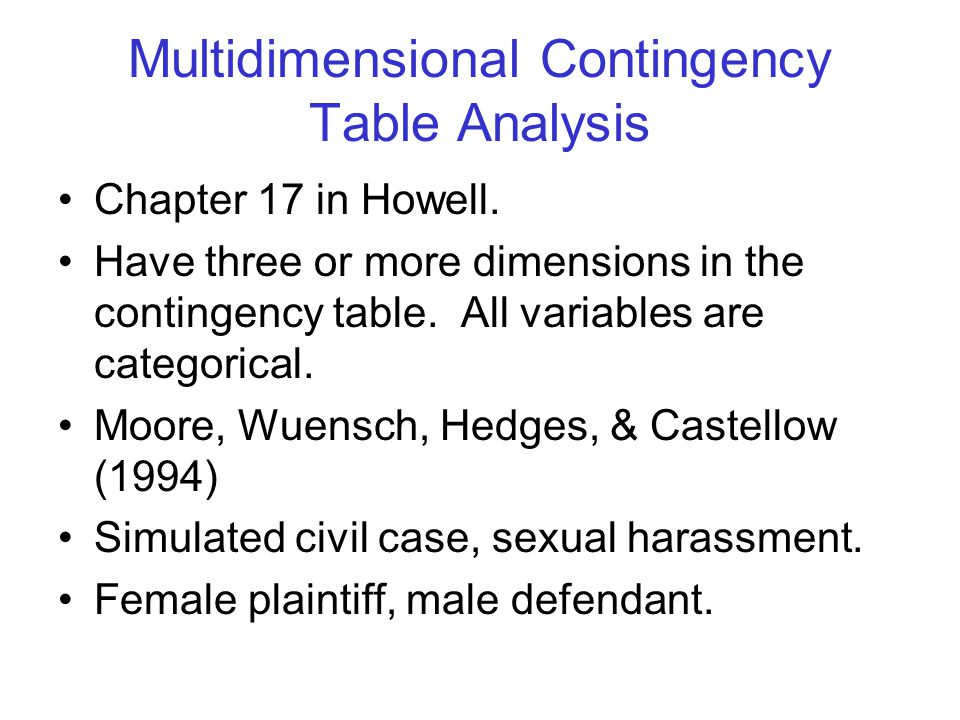Multidimensional Contingency Table Analysis Chapter 17 in Howell. Have three or more dimensions in the contingency table. All variables are categorica