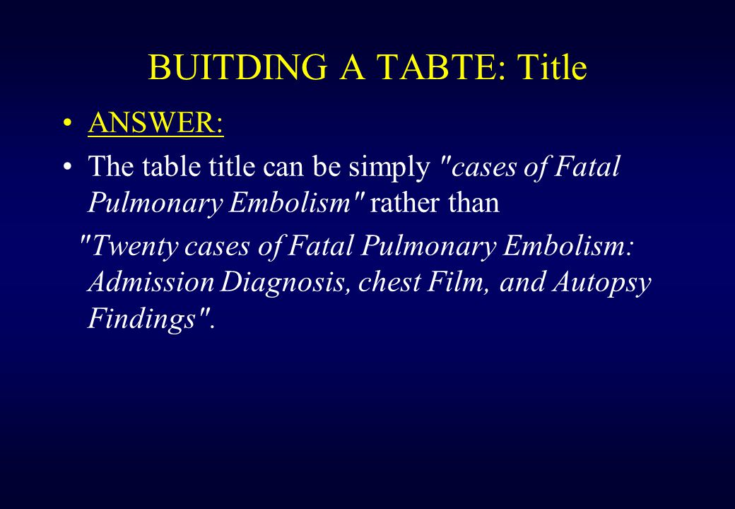 BUITDING A TABTE: Title Example: consider a table summarizing in three groups of columns the admission diagnosis and roentgenographic and autopsy findings in 20 fatal cases of pulmonary embolism.