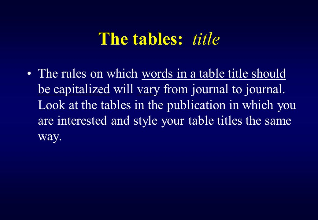 Relations of Tables A look-at the tables by themselves in the proposed sequence will help you judge whether the table, are understandable on their own