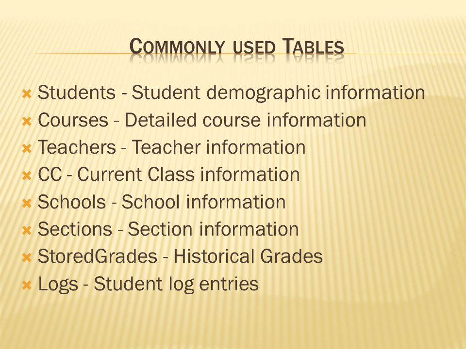 Students - Student demographic information Courses - Detailed course information Teachers - Teacher information CC - Current Class information Schools - School information Sections - Section information StoredGrades - Historical Grades Logs - Student log entries