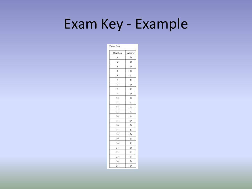 Exam Key - Example