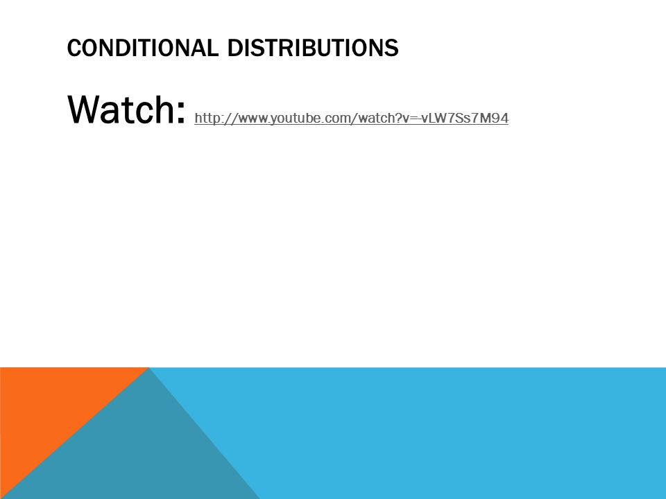 CONDITIONAL DISTRIBUTIONS Watch: http://www.youtube.com/watch?v=-vLW7Ss7M94 http://www.youtube.com/watch?v=-vLW7Ss7M94