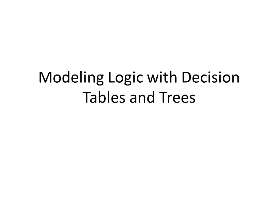 Modeling Logic with Decision Tables and Trees