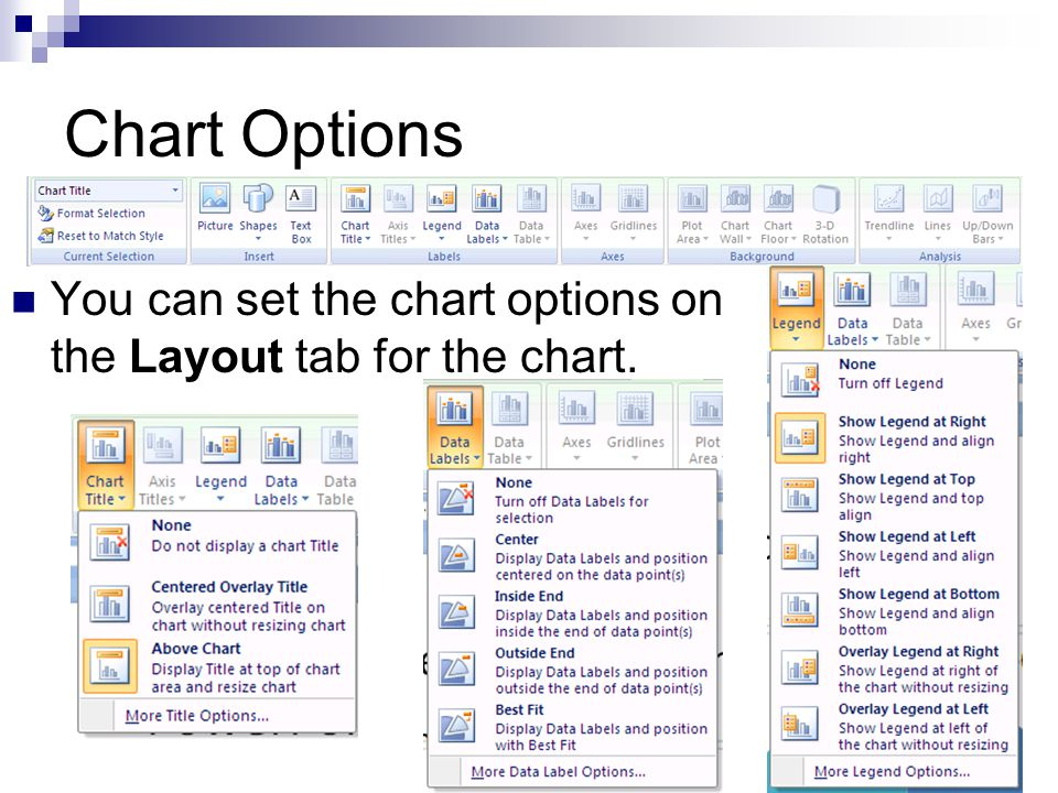 Chart Options The chart options depend on the chart type.