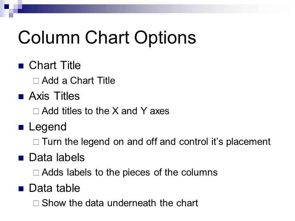 Column Chart Options Column charts have additions options: