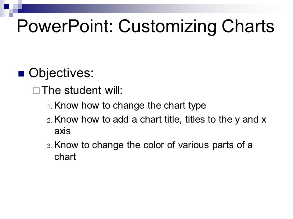 Objectives: The student will: 1.Know how to change the chart type 2.