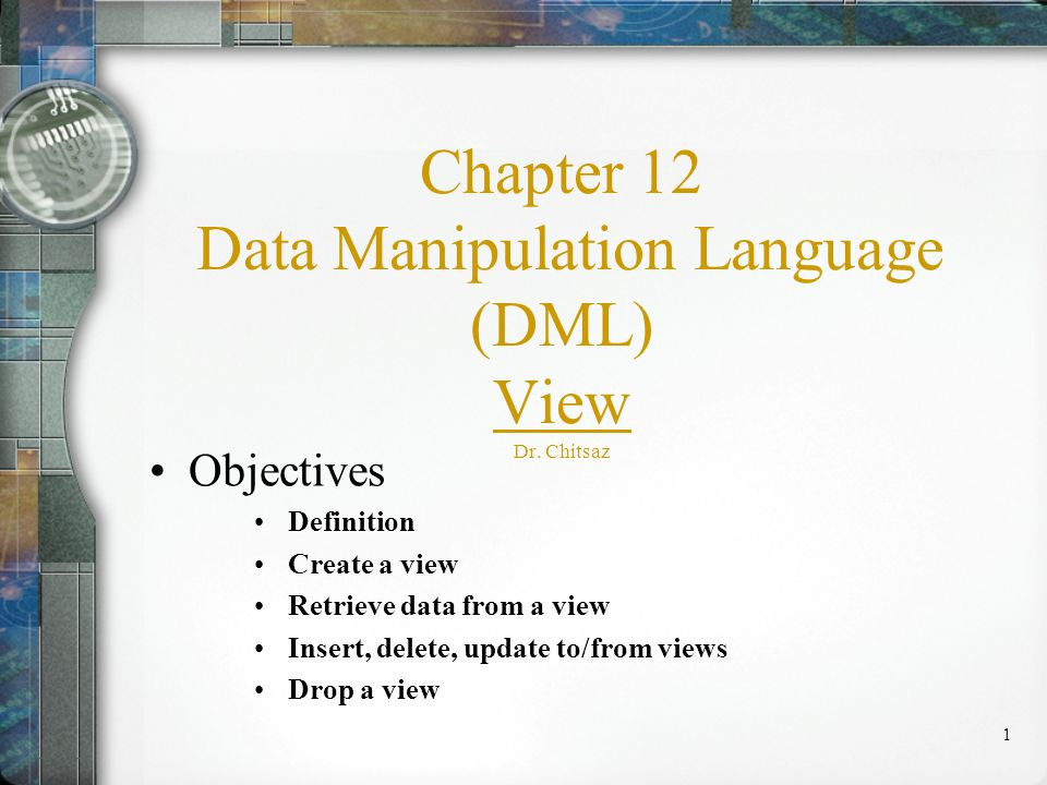 1 Chapter 12 Data Manipulation Language (DML) View Dr.