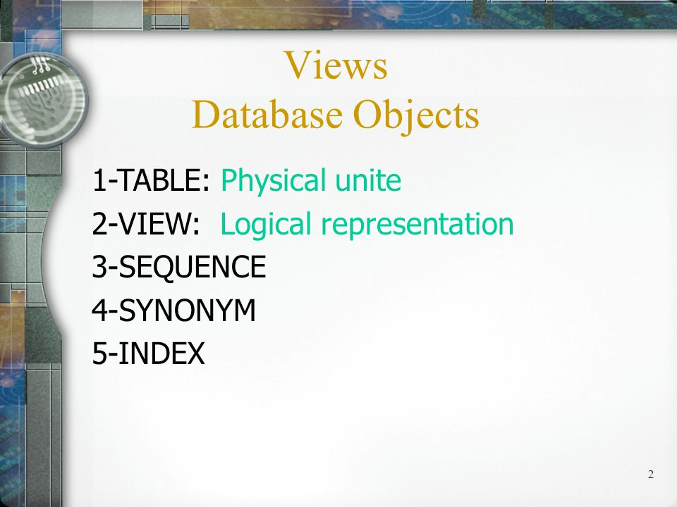 23 Insert Data Into A View: INSERT INTO COSCStudent (COSCid, COSCName, GPA) VALUES (1121,SANDY,3.33); SELECT COSCid, COSCName, GPA FROM COSCStudent WHERE Major=COSC; Views