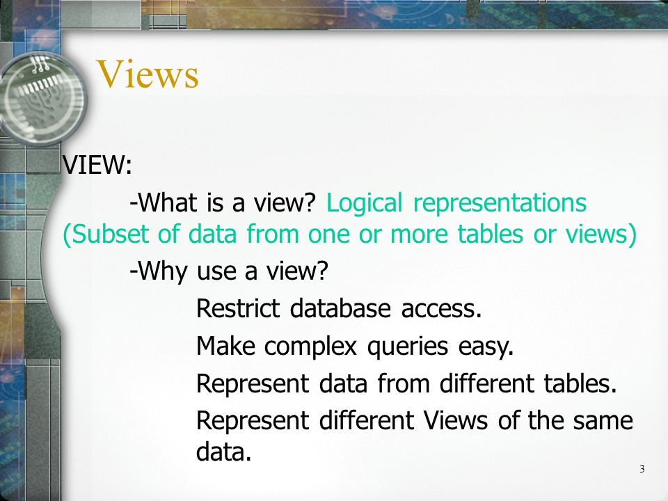 4 Creating a View: CREATE [OR REPLACE] [FORCE | NOFORCE] VIEW name AS Subquery [WITH CHECK OPTION [CONSTRAINT name]] [WITH READ ONLY]; Use OR REPLACE if view already exists.
