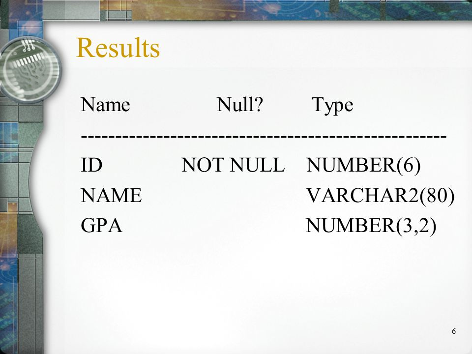 6 Results Name Null.