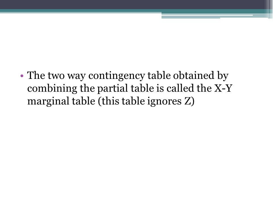 The two way contingency table obtained by combining the partial table is called the X-Y marginal table (this table ignores Z)