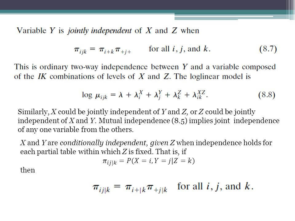 Similarly, X could be jointly independent of Y and Z, or Z could be jointly independent of X and Y.